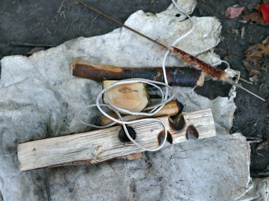 A friction method kit to start a fire used during a