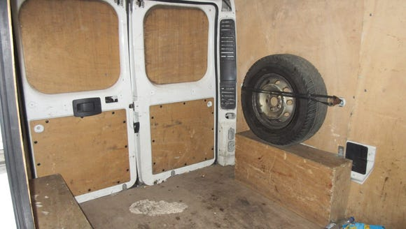 The inside of a van used for human trafficking that