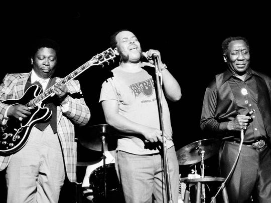 June 29, 1979 - Blues musician B.B. King, left, James Cotton, center, and Muddy Waters perform together at radio city music hall in New York . The three bluesmen got together at the Newport Jazz Festival concert that was billed as a tribute to Muddy Waters.  (AP Photo/Perez)