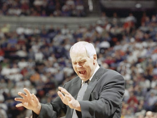 Michigan State coach Jud Heathcote during his final game on the sideline, a 1995 NCAA tournament loss. After retiring from Michigan State, Heathcote moved back to Spokane, where he became closely associated with the Gonzaga basketball program.
