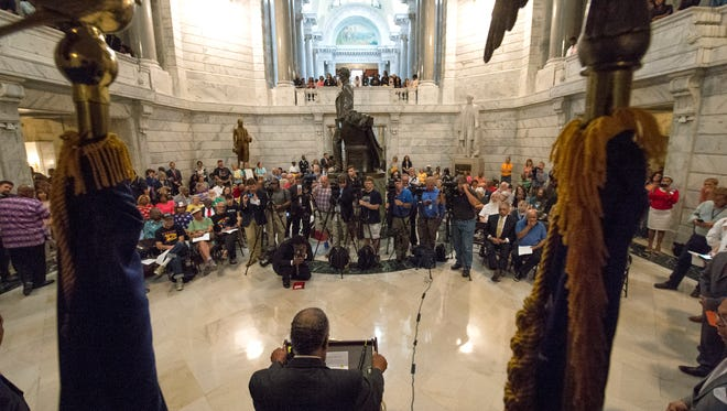 Kentucky Senator Gerald Neal speaks during a rally in favor of moving the statue of Jefferson Davis from the Kentucky State Capitol Rotunda, Wednesday, Aug. 30, 2017 in Frankfort Ky. (Timothy D. Easley/Special to the C-J)