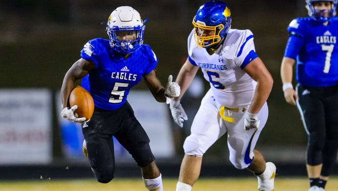 Senior running back Reggie Rodgers (5) rushed for 165 yards in Eastside's 45-23 win over Wren in the first round of the playoffs.
