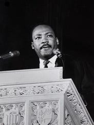 Martin Luther King, Jr. (1929 - 1968) delivers his