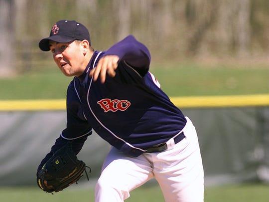 Former Toms River South hurler Jason Arre delivers a pitch for Brookdale  in 2000.