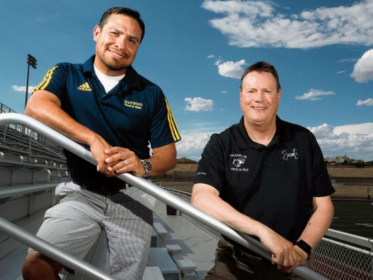 Rudy Gutierrez—El Paso Times Jimmy Ayala, left, of Eastwood and Kelly Hady of Franklin are the All-City prep track and field Coaches of the Year.