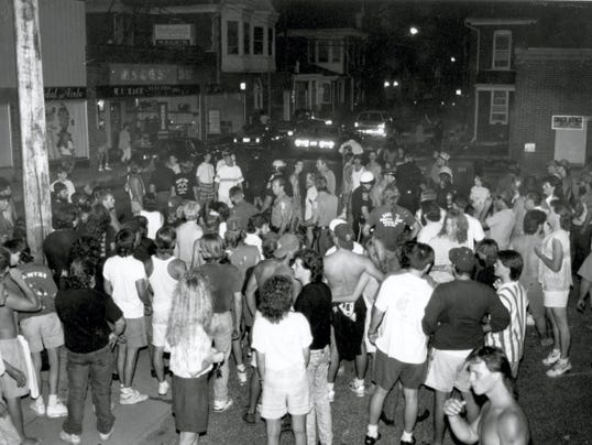 People pack Hanover's Center Square in July 1991 during a two-day race riot. Nine adults and two juveniles were arrested that night, according to reports at the time.