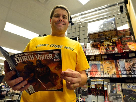 "Brian Waltersdorff, owner of Comic Store West, 2111 Industrial Highway, Springettsbury Township, has a large assortment of ""Star Wars"" comic books, action figures and X-Wing Miniatures board game pieces. Waltersdorff said he's been a fan of the franchise since he saw the first movie in 1977 at the age of 7."