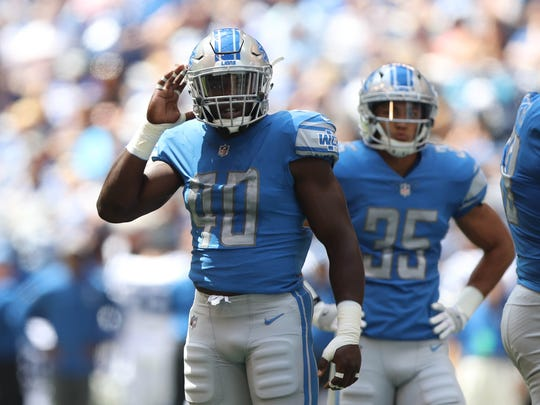 Linebacker Jarrad Davis (40) on defense against the Colts during the second quarter of the Lions' 24-10 exhibition win Aug. 13, 2017 in Indianapolis.