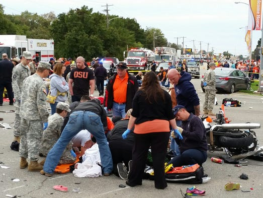 Emergency personnel respond after a vehicle crashed