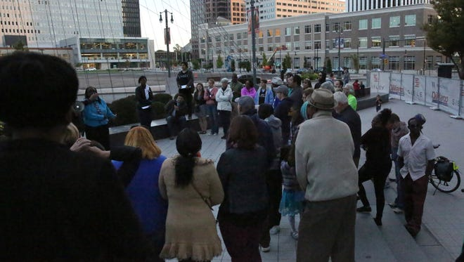 Some Rochester residents gathered on Sunday at the Liberty Pole to discuss racial equality after recent events across the country.