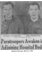 Stanley Kaslikowski, left, with brother Jack, pictured in the Stamford Advocate (Connecticut) newspaper on March 4, 1944. The brothers served in the U.S. Army as paratroopers in the 82nd Airborne Division during World War II. Both were injured and ended up together in the same hospital.