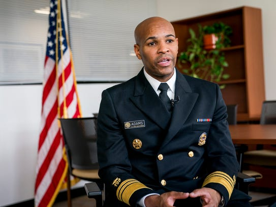 Surgeon General Jerome Adams during an interview at