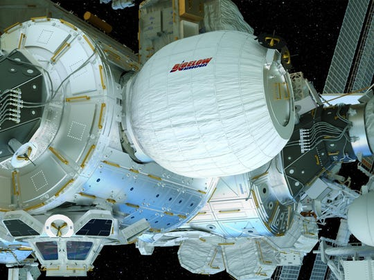 An artist's concept of the Bigelow Expandable Activity Module (BEAM), attached to the International Space Station.