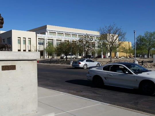 The west parking lot entrance to Las Cruces City Hall