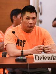 Darren Jared Carandang Cruz appears before Superior Court of Guam Judge Alberto Lamorena III at the Guam Judicial Center in Hagåtña on Tuesday, May 30, 2017. Cruz, a Department of Corrections officer, faces home invasion and kidnapping charges in connection with a case involving his wife and another man, last October, according to PDN files.