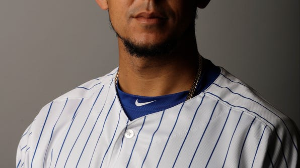 This is a 2017 photo of Jon Jay. This image reflects the Chicago Cubs active roster as of Tuesday, Feb. 21, 2017, when the photo was taken in Mesa, Ariz. (AP Photo/Morry Gash)