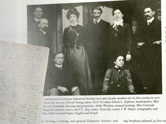 This photo in Kathleen Thames' book on the first 100 years of the university shows its first faculty members.
