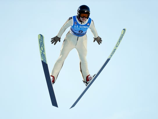 Nita Englund competes in the U.S. Olympic ski jumping trials in Utah in December.