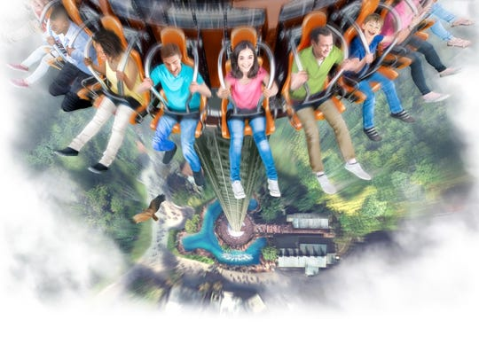 Image of Dollywood's new Drop Line ride, which will take guests on a 200-foot free fall experience.