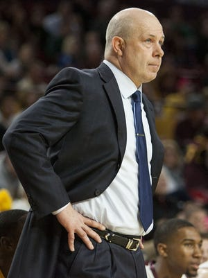 Arizona State Sun Devil Head Coach Herb Sendek watches as his team moves into overtime against the Oregon Ducks Friday Jan. 30, 2015 at Wells Fargo Arena in Tempe, Ariz. The Ducks would take the victory, winning 68-67 over the Sun Devils.