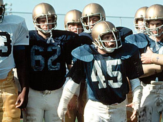 "Sean Astin (wearing No. 45) starred in the 1993 feel-good film ""Rudy."""