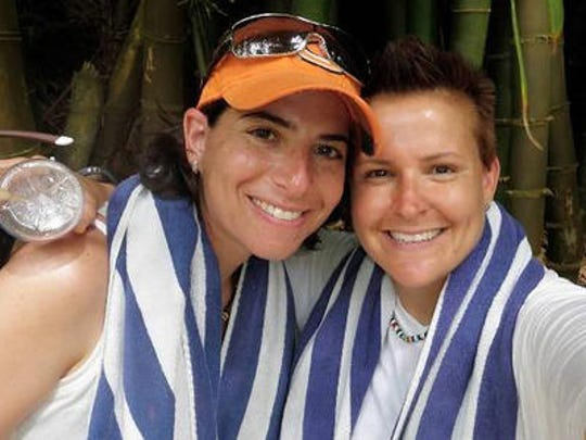 Amy Sandler, left, and Niki Quasney joined a lawsuit to over turn Indiana's ban on same-sex marraige.