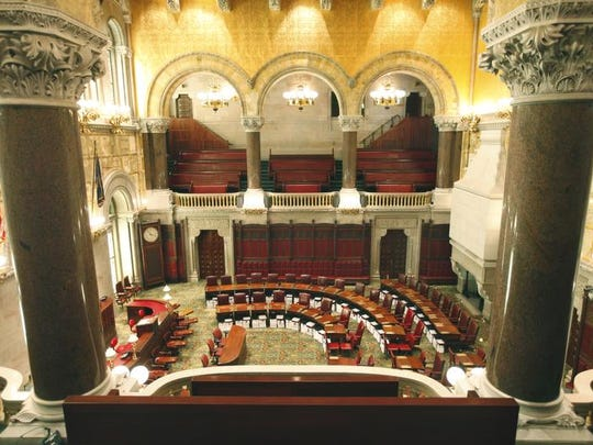 The Senate chambers inside the New York State Capitol in Albany.