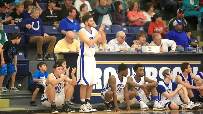 Cal Raleigh (40) waits to check into the Blue-White All-Star boys basketball game Saturday at Roberson.