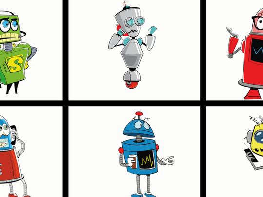 Robots meant to portray cashless tolling customer service representatives.