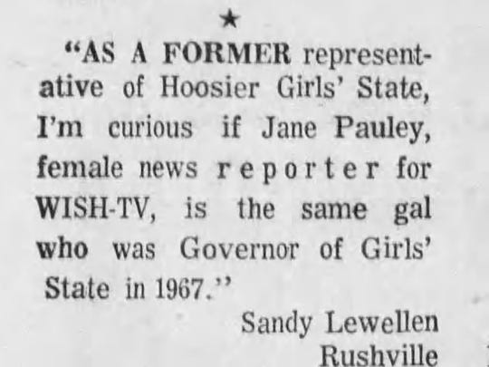 Before she was a news person, Jane Pauley was a governor.