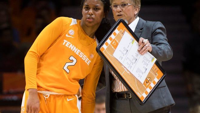 Tennessee head coach Holly Warlick speaks with Tennessee guard Evina Westbrook (2) during Tennessee's home basketball game against Texas at Thompson-Boling Arena on Sunday, Dec. 10, 2017.