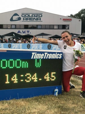 Shelby Houlihan, after setting the American record in the 5,000 meters Saturday in Heusden, Belgium.