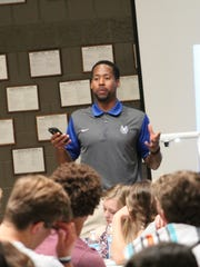 Former Wyoming Cowboy, Ohio State Buckeye and San Francisco 49er Ahmed Plummer came back to address his alma mater April 25.