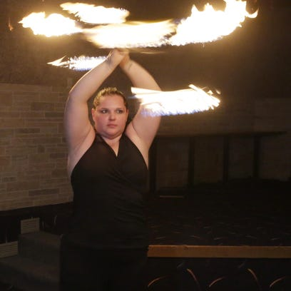 Valerie Ringwell of Sheboygan, works a fire baton during