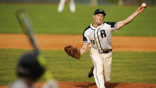 Reitz's Elijah Dunham pitches during a Class 4A sectional game against Castle at Bosse Field, Wednesday, May 25, 2016. Castle beat Reitz 4-2.