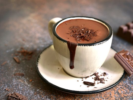 Thick spicy hot chocolate in a cup.