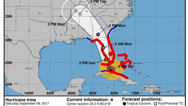 The National Hurricane Center's projected path for Irma as of 8 p.m. on Saturday, Sept. 9, 2017.