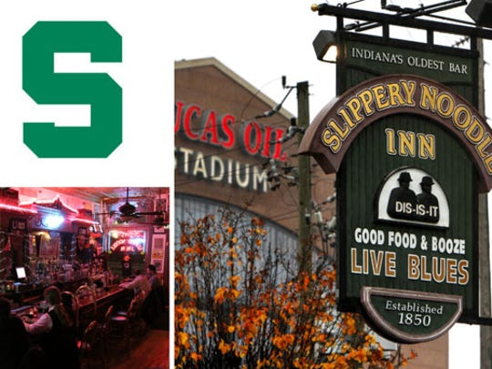 Michigan State fans are meeting up at the Slippery Noodle Inn, 372 S. Meridian Street.