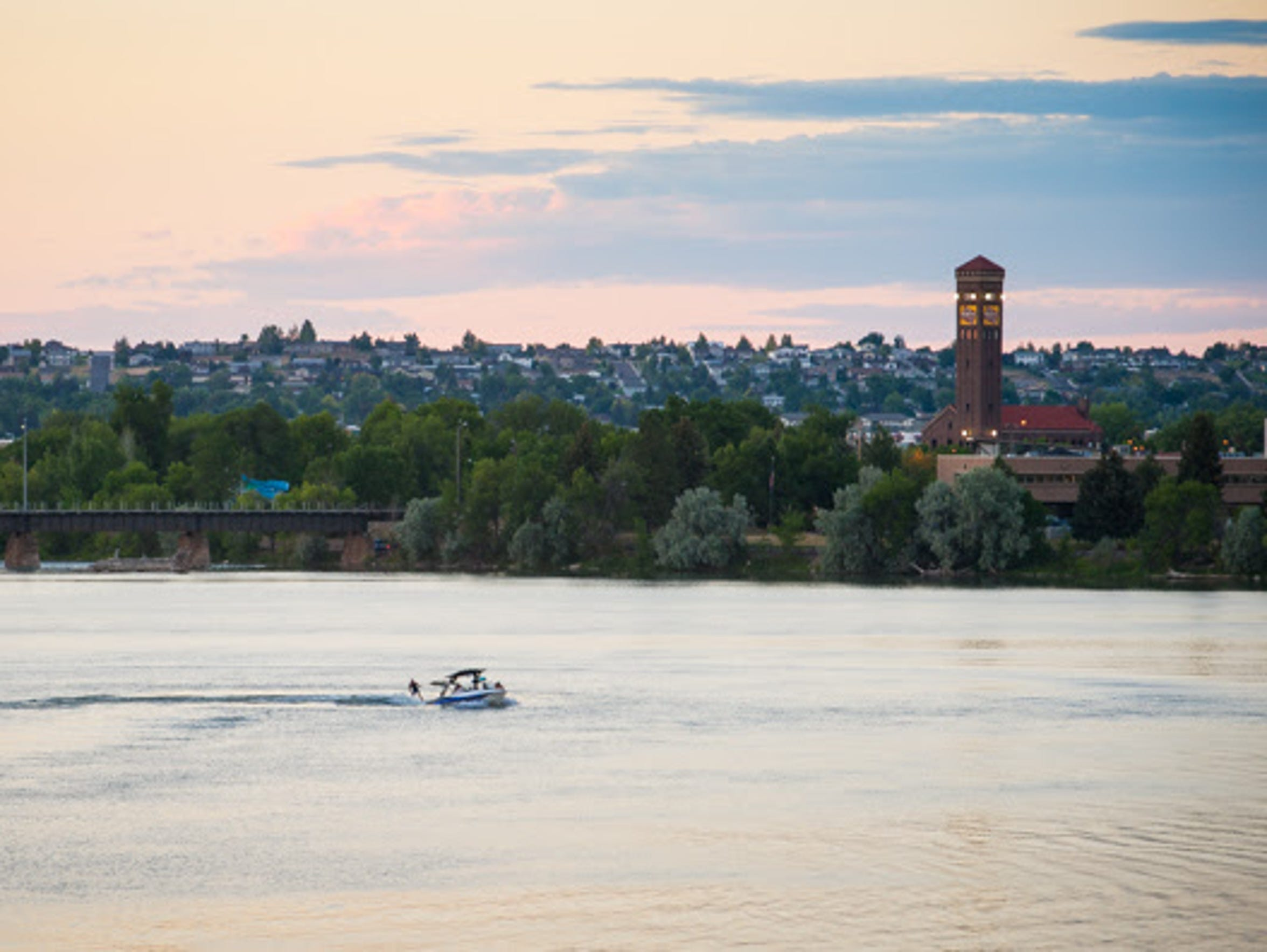 Boating travel across the Missouri River in Great Falls.