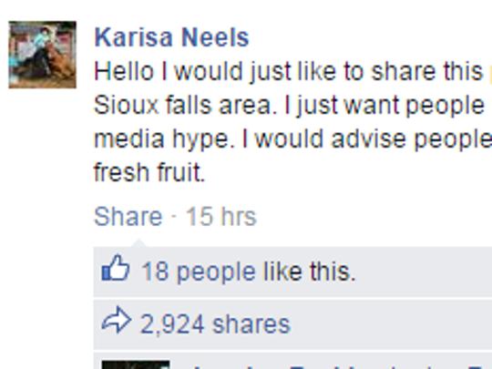 Screenshot of Karisa Neels' Facebook post about what