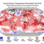 Red areas on this map show areas where February temperatures were above normal and blue areas are those below normal.