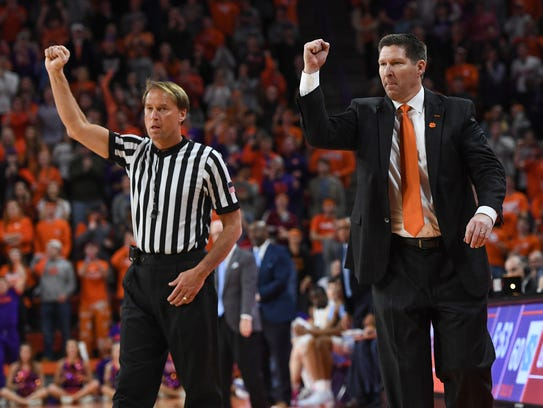 Clemson head coach Brad Brownell reacts after a Tiger