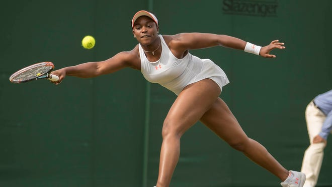 Sloane Stephens (USA) in action during her match against Alison Riske (USA) during Wimbledon on  July 4.