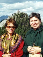 Adrienne Donohue, right, in the Canadian Rockies with Anna Maria.