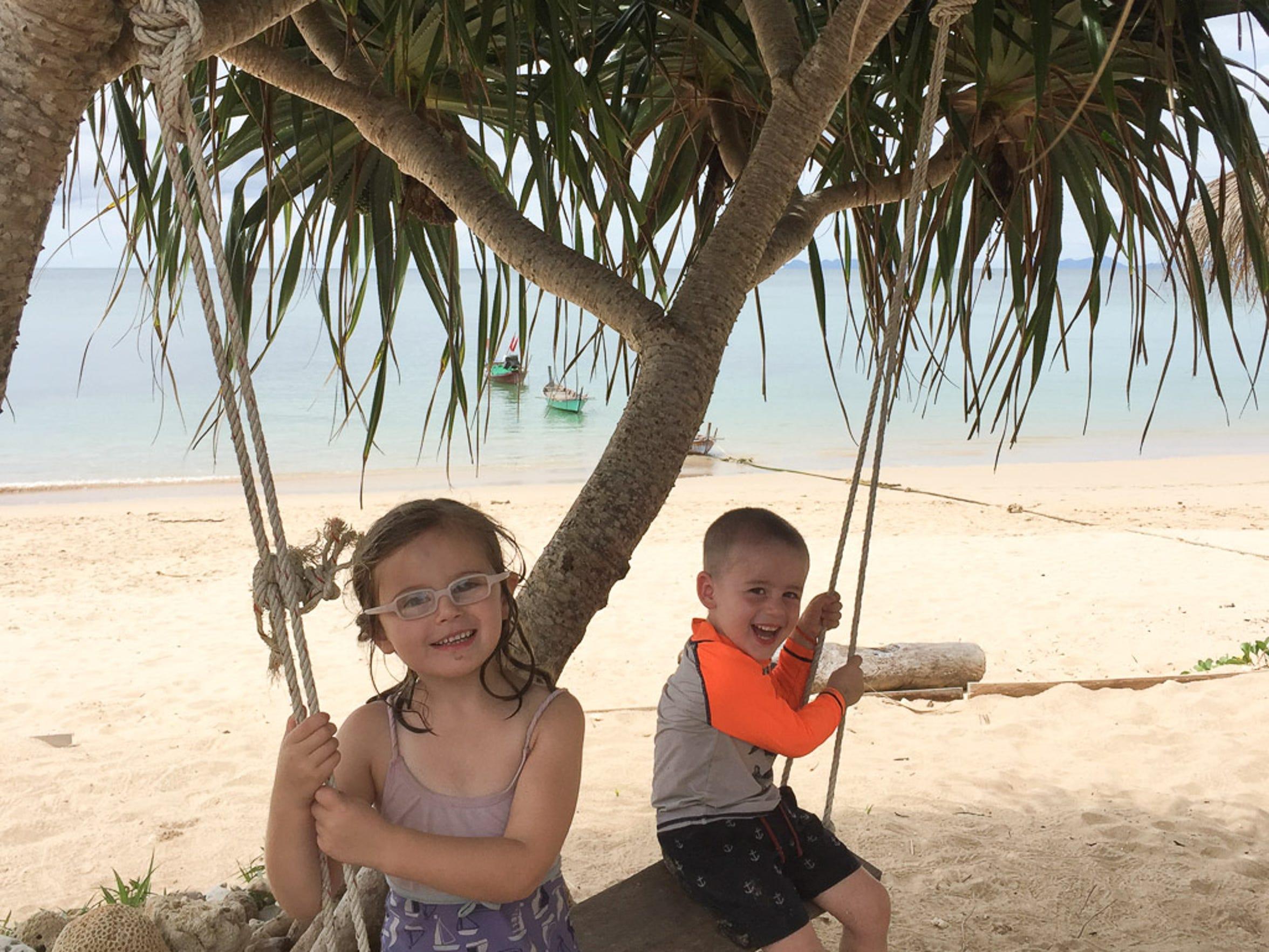 Harper and Walker Hughey playing in Ko Lanta, Thailand.