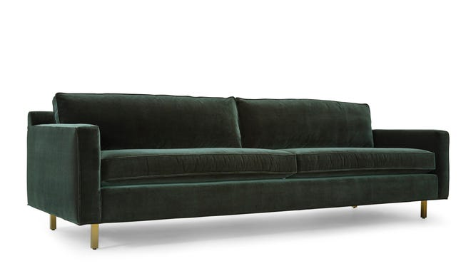 "Mitchell Gold + Bob Williams offers this 100"" sofa in dark green."