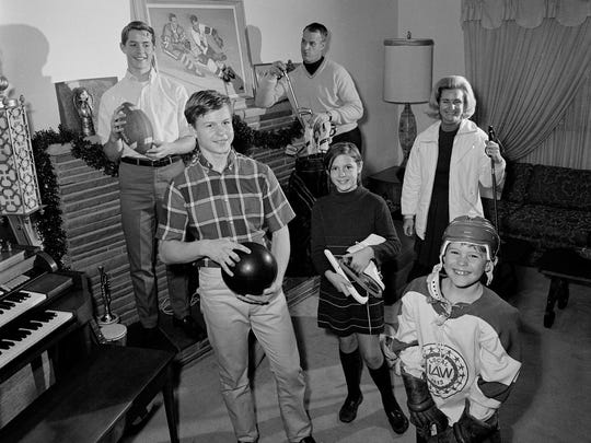 """The Howe family circa 1968 in the living room. Clockwise from upper left, Marty, Gordie, Colleen, Murray, Mark and Cathy. From the book,  """"Nine Lessons I've Learned from my Father"""" by Dr. Murray Howe."""