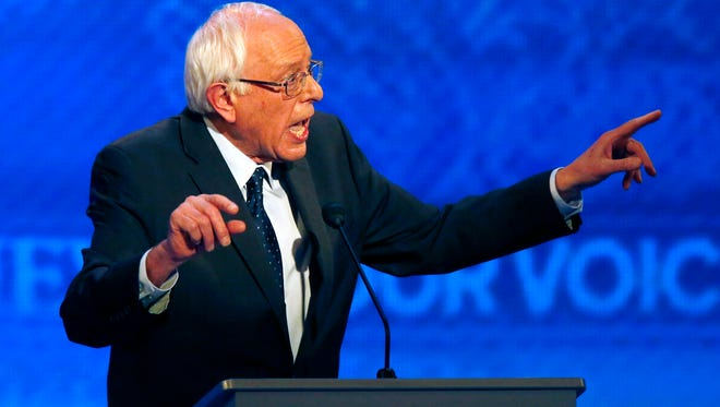Bernie Sanders speaks during a Democratic presidential primary debate Saturday, Dec. 19, 2015, at Saint Anselm College in Manchester, N.H. (AP Photo/Jim Cole)