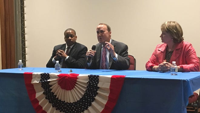Virginia Democratic candidates for lieutenant governor Justin Fairfax, Gene Rossi and Susan Platt participate in a forum discussion at Mary Baldwin University in Staunton, Va., on Monday, May 22, 2017.