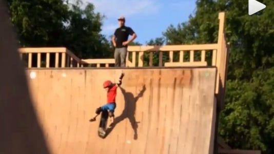 A screenshot of an Instagram video at the skateboard park.